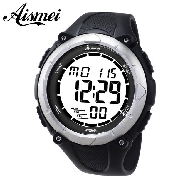 New Fashion 2018 Aismei Men's Sports Watches Men's Military led Watch Clocks Casual Rubber Wristwatches relogio masculino