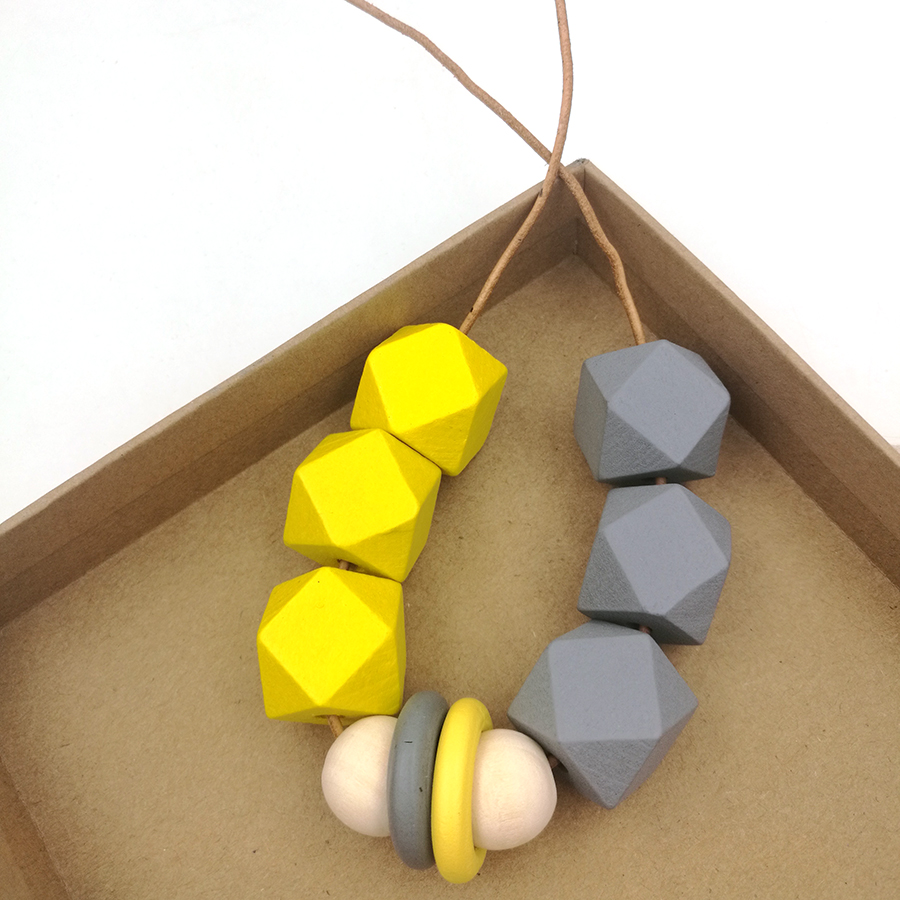 2017 new wood geometric necklace pandant minimalist statement yellow grey statement abstract brown double color NW228