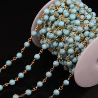 5meter Lot 6mm Blue Turquoises Round Beads Rosary Link Chain Turquoises Stone Gold Plate Chain DIY