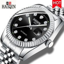 HAIQIN New Automatic Mechanical Watch Waterproof Genuine Stainless Steel Watch Men Luminous Dial Wristwatch Mens Calendar Clock