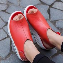 {D & H}สวิงแข็งแพลตฟอร์มผู้หญิงรองเท้าแตะเลดี้รองเท้าเวดจ์หนังฤดูร้อนแพลตฟอร์มรองเท้า/สีแดง/สีดำ/สีน้ำตาล