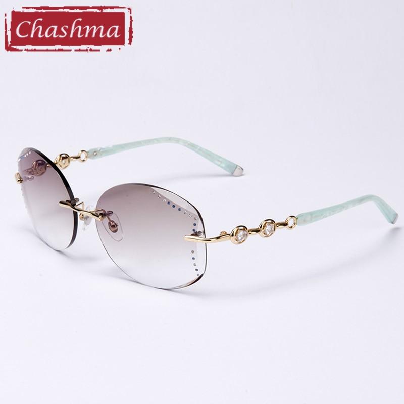 lente de grau Eyeglass Frame with Rhinestone Women Sunglasses Gradient Colored Fashion Rimless Eyewear Female Anti