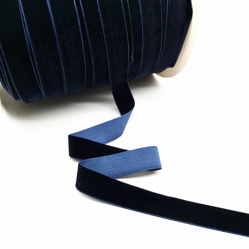 5 ярдов 6-25 мм бархатная лента для украшения свадебной вечеринки ручная работа лента для упаковки подарков бантик для волос DIY Рождественская лента - Цвет: Dark Blue