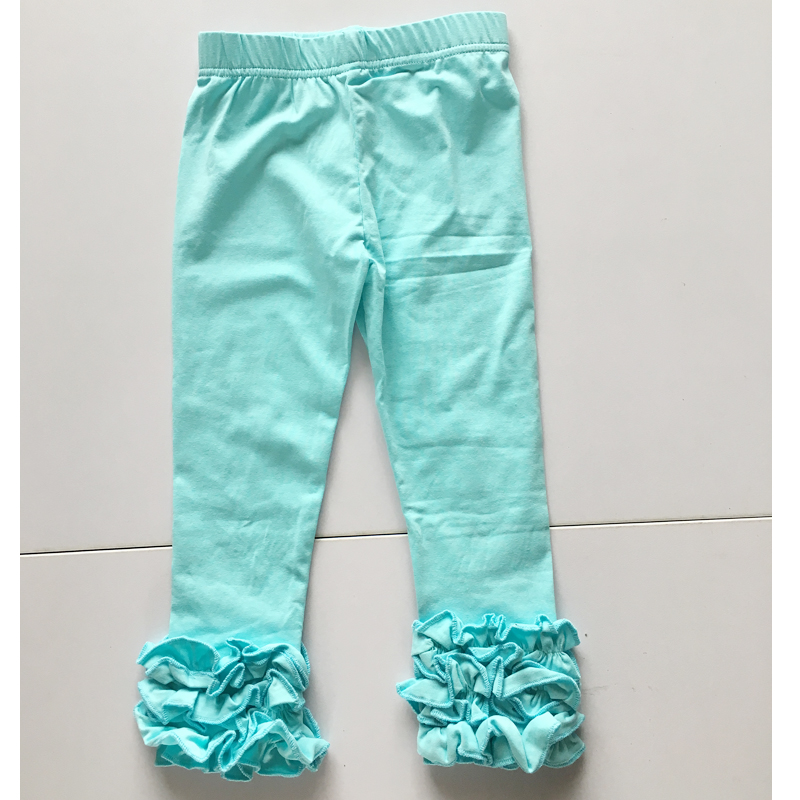 Aqua Blue Leggings For Girls Toddle 3 Ruffles Icing Pants Wholesale Girls Children Ruffle Icing Leggings Pants Children Pants
