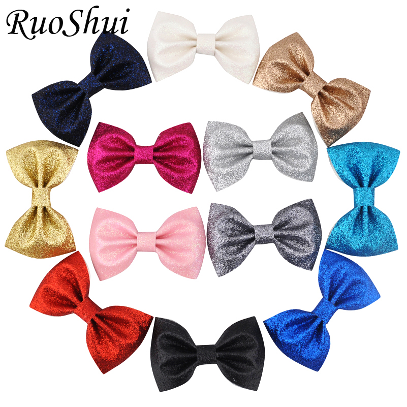 Ruoshui 3 Inches Baby Girls Glitter Hairpins Kids Hair Accessories Leather Hair Bows Clips For Infant Child Barrettes Headwear