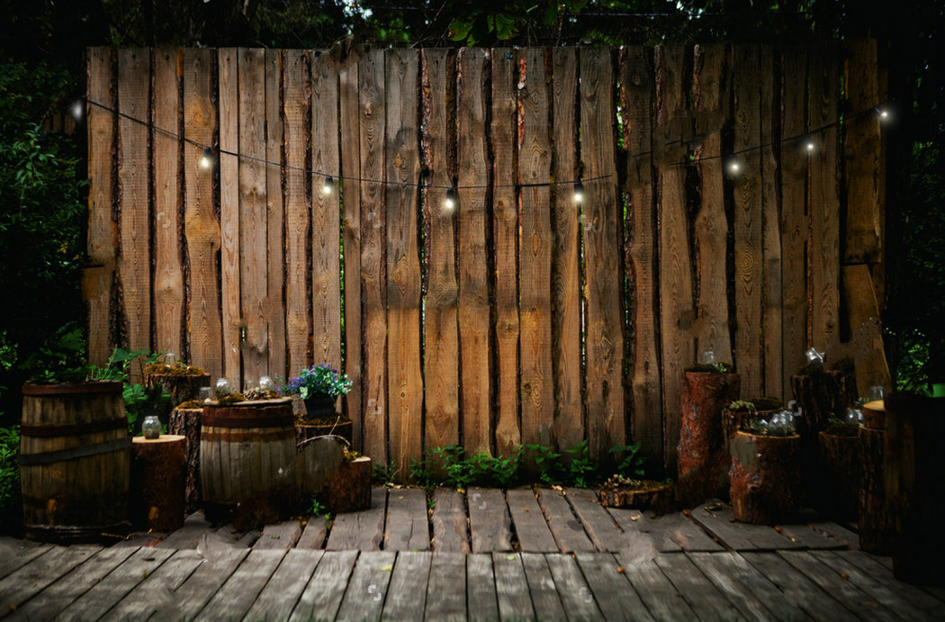 Rustic Recreation Garden Wooden Terrace Retro Bulbs Flower