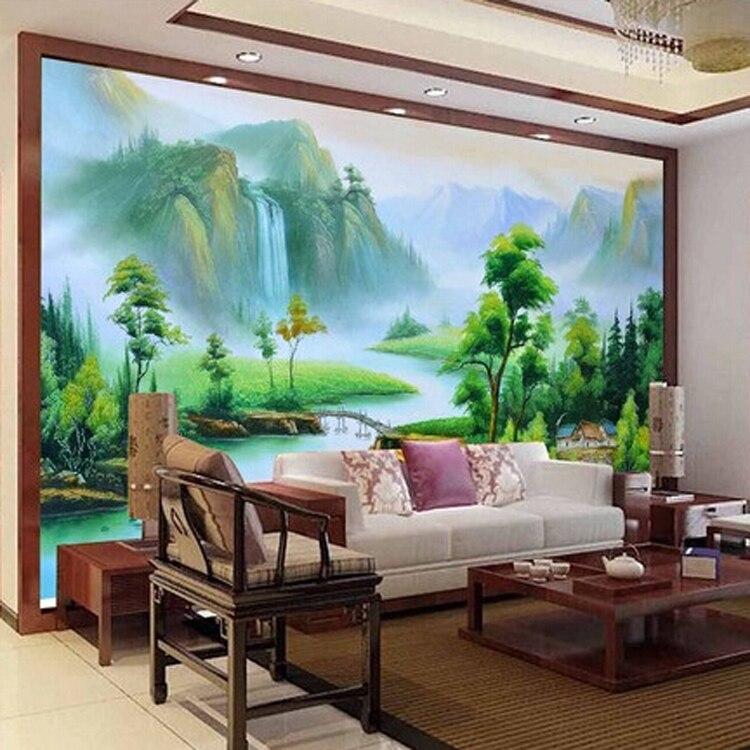 Gratis verzending custom 3d muurschildering muur bamboe ontwerp ...