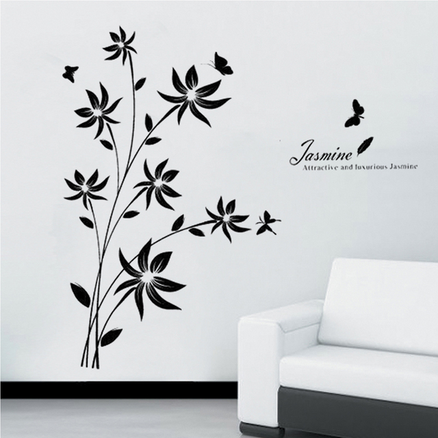 black leaves butterflies english letters wall decal home sticker