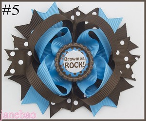 Image 5 - free shipping 12pcs Girl Scout hair bow Girl Scout hair accessories  cookies hair bow brownies daisys girls hair clips