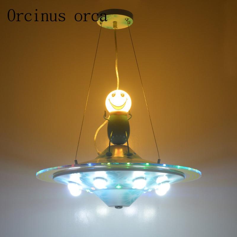 Cartoon blue LED UFO chandelier children's room boy bedroom study room Mediterranean simple iron Chandelier free shipping|simple iron chandelier|ufo chandelier|iron chandelier - title=