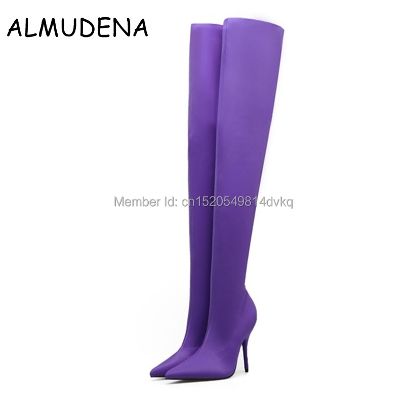 New Stretch Thigh High Boots Woman Pointed Toe Thin High Heel Shoes Slim Fit Woman Sexy Over The Knee Boots Women Shoes qiu dong in fashionable boots sexy and comfortable women s shoes the new national style high heel heel thick heel
