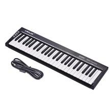 Worlde ks49c controlador de teclado midi, 49 teclas usb com pedal de 6.35mm, jack midi para fora, frete grátis