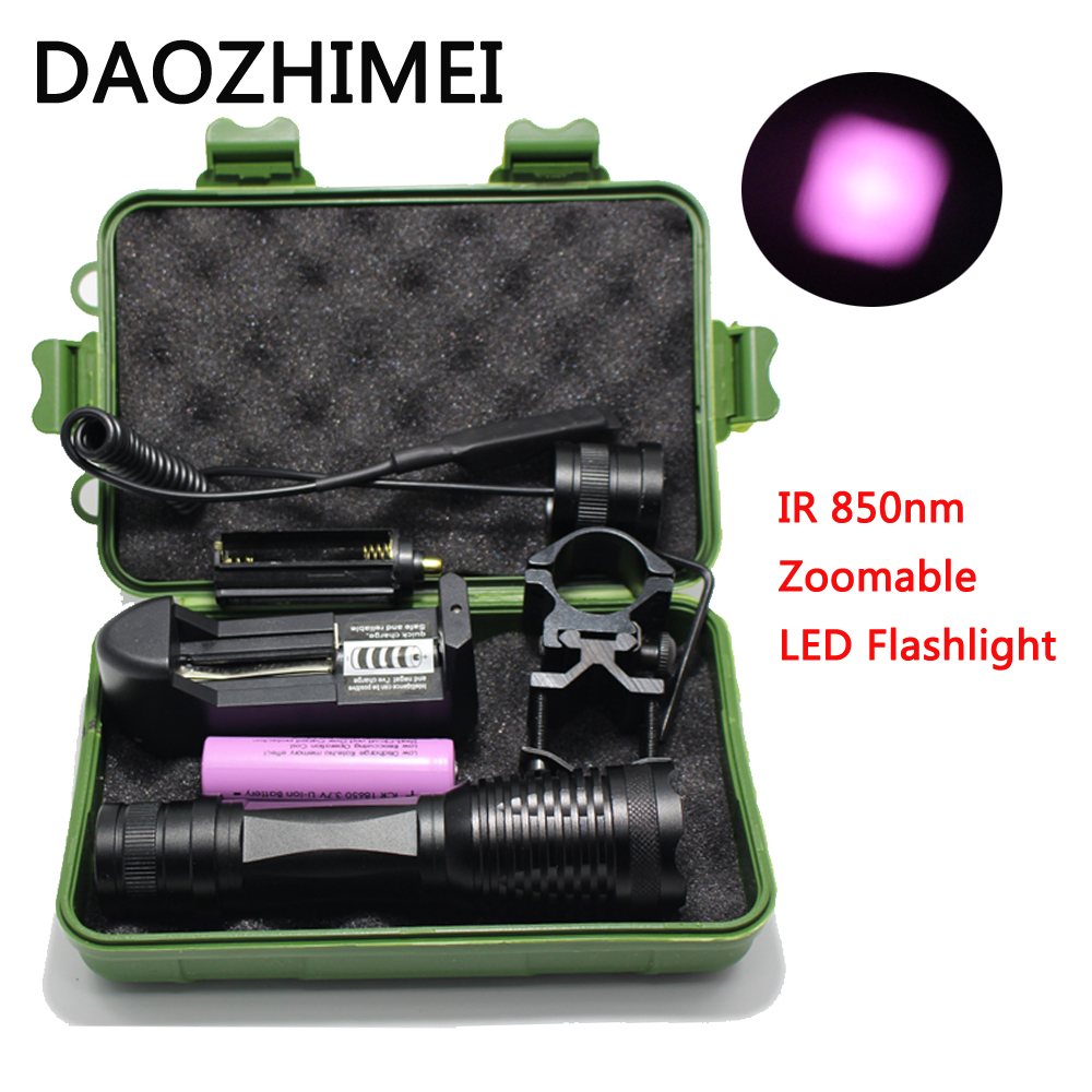 IR 850nm 5w Night Vision Infrared Zoomable LED Flashlight IR Torch/Pressure Switch Mounts 18650 battery charger +box