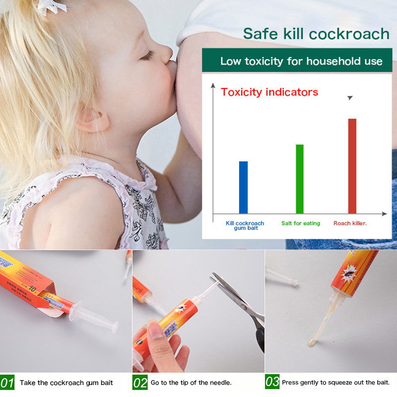 1PC Roach Control Gel Bait Fipronil Safe Insecticide Efficient Powerful For Hotels Kitchen Home x in Baits Lures from Home Garden