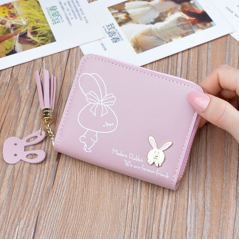 2019 New Women Small Wallets Lady Short Zipper Tassel Rabbit Wallet Fashion Korean Style Purse For Coins Card Bag Carteira