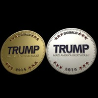 1pcs/lot Newest 2016 Make America Great Again The United States president gold or silver plated Donald Trump Coin for collection