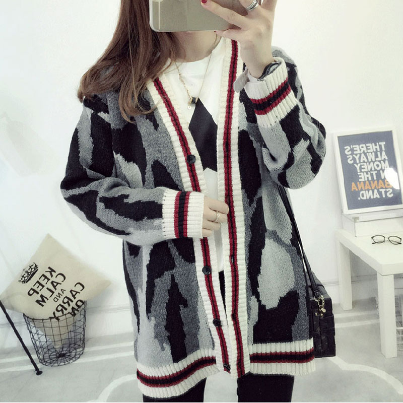 2017 New Autumn Korean Style Students Camouflage Cardigan Women Sweater Single Breasted Cardigans Feminino Outerwear Sweaters
