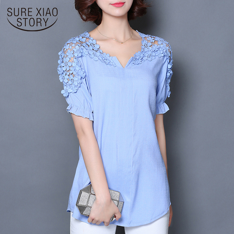 fashion 2018 summer tops plus size lace   blouse     shirt   with short sleeve for women elegant chiffon female   shirt   blusas 513A 25