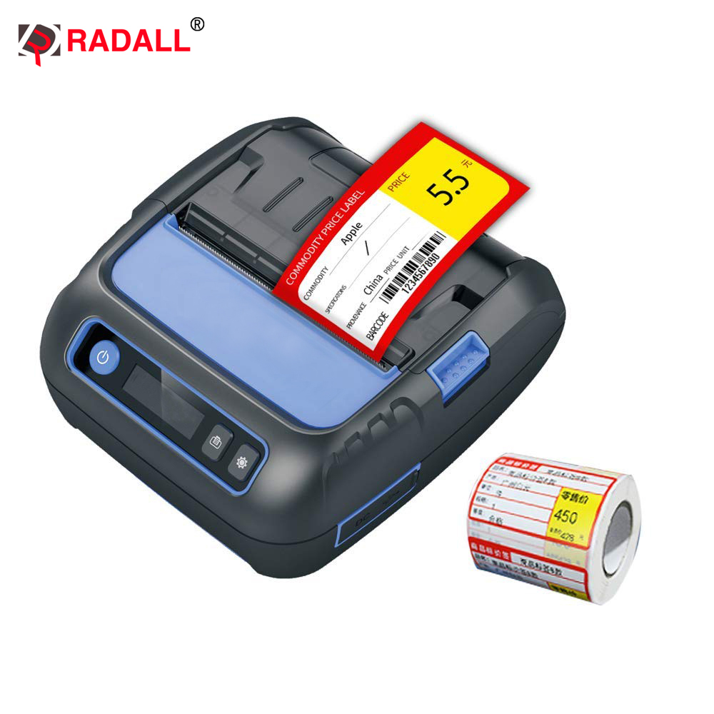 Label Label Thermal RD-G50 G80 Label Printer 50 / 80mm Mini Mudah Alih Pencetak Pencetak Label Bluetooth untuk Supermarket Sistem POS