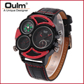 2016 Oulm Brand HP3594-2 Mens Watch Multiple Time Zone Wristwatches