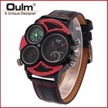 2016 Oulm Marca HP3594-2 Mens Watch Múltipla Fuso Horário relógios de Pulso