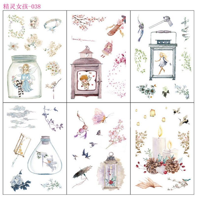 6 Sheets/pack Kawaii Fairy Girls Decorative Washi Stickers Scrapbooking Stick Label Diary Stationery Album Stickers