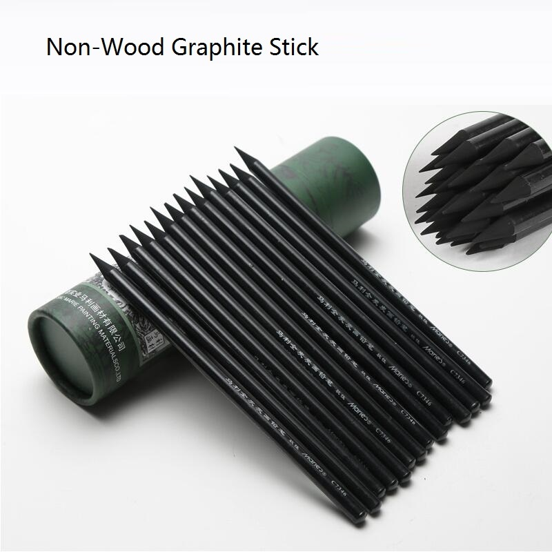 Non-Wood Graphite Pencils Soft ALL-GRAPHITE Sketching Drawing Artist Pencil Set Art Charcoal Full Graphite NO.C7346