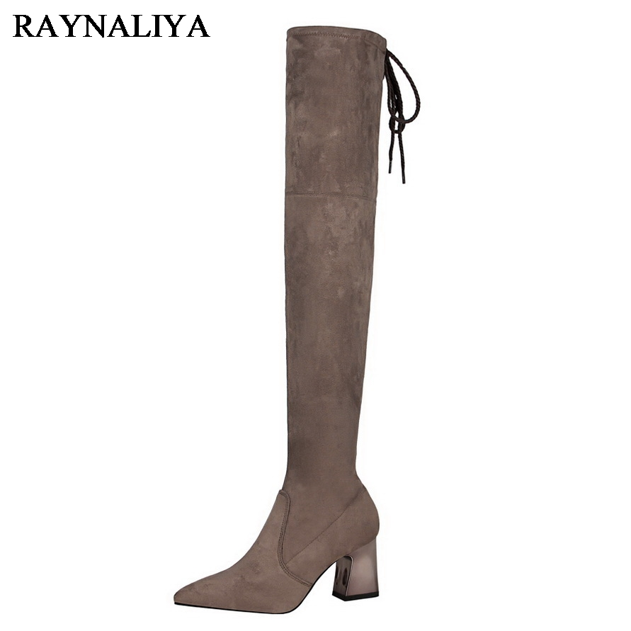 Fashion Long Boots Flock Woman Pointed Toe Over The Knee High Boots Winter Botas High Heeled Woman Shoes Black DS-A0062 ppnu woman winter nubuck genuine leather over the knee snow boots women fashion womens suede thigh high boots ladies shoes flats