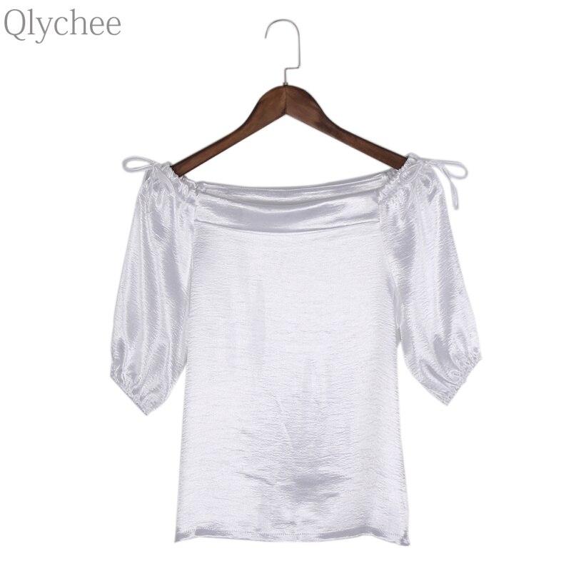 Qlychee off Schouder strikje Bladerdeeg Mouw T-shirt Vrouwen Zomer Sexy Slash Hals Tops