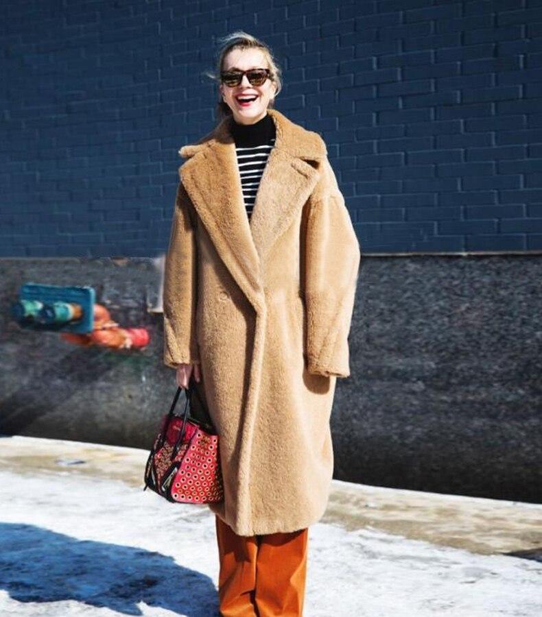 Agneau Manteau Hiver Casual Surdimensionné Femmes Vestes Laine D'hiver caramel Épaississement Long Colour Red ZZrEnx