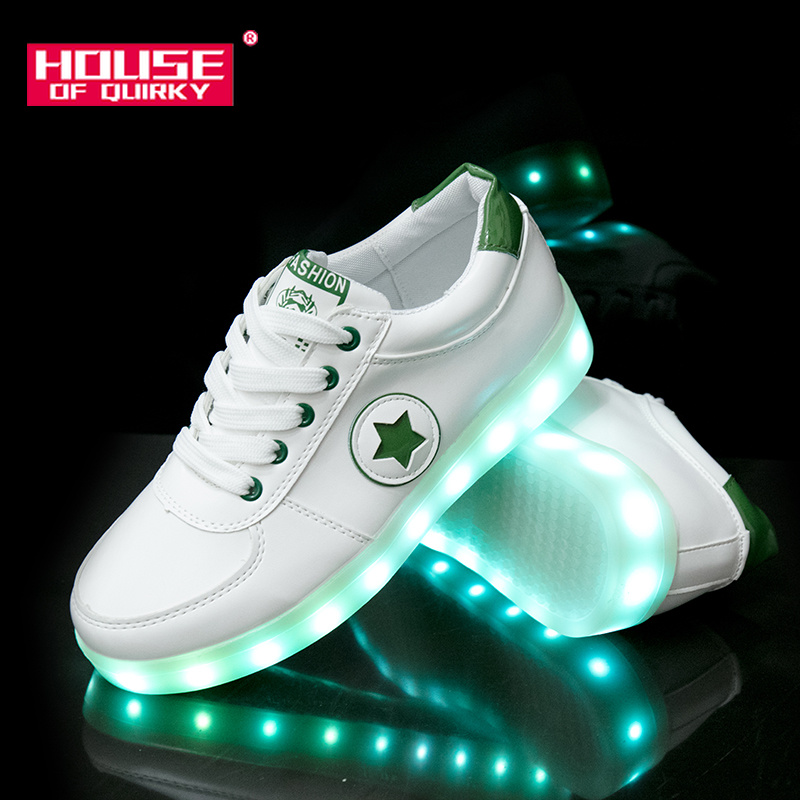 2019 New Women Flat Breathable Light Up Shoes Girls USB Recharge Glowing Sneakers Boys Led Luminous Shoes Female Flat shoes(China)