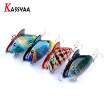 KASSYAA Colorful VIB Fishing Lure Kit 55mm 7.9g Artificial Bait Vivid Vibration Wobbler Lures #8 Treble 3 Barbed Hooks 3D Eyes