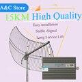 15 km de Refuerzo GSM 2G Teléfono Celular Amplificador de Señal 900 mhz Móvil Repetidor de Señal Celular Amplificador con buena antenas para el área grande