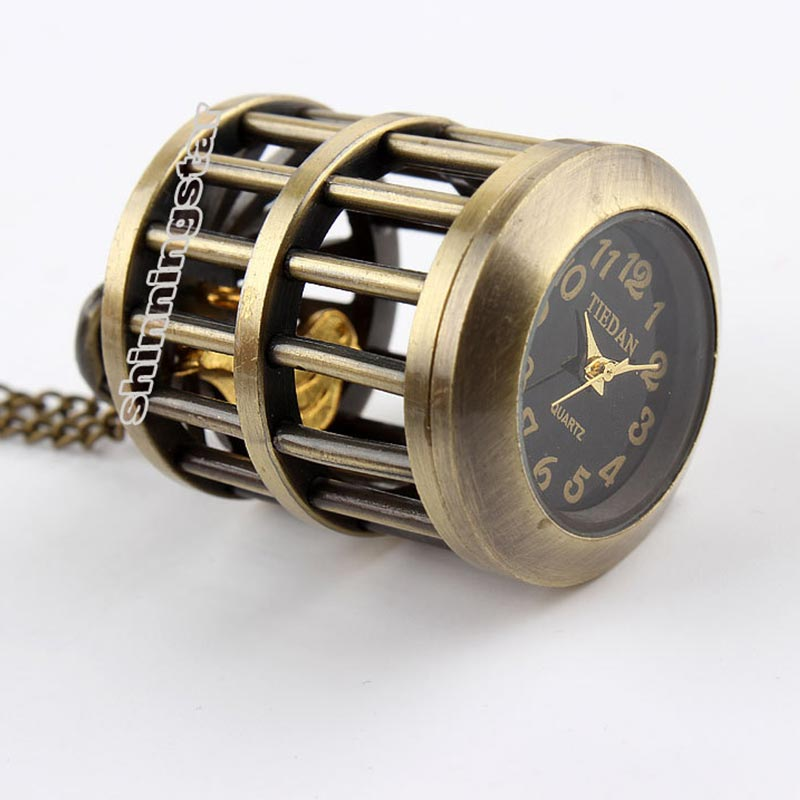 Vintage Retro Cute Bird Cage Birdcage Pocket Watch Men Women Bronze Necklace Pendants Chain Hour For Girl Lady Gifts Watch Clock