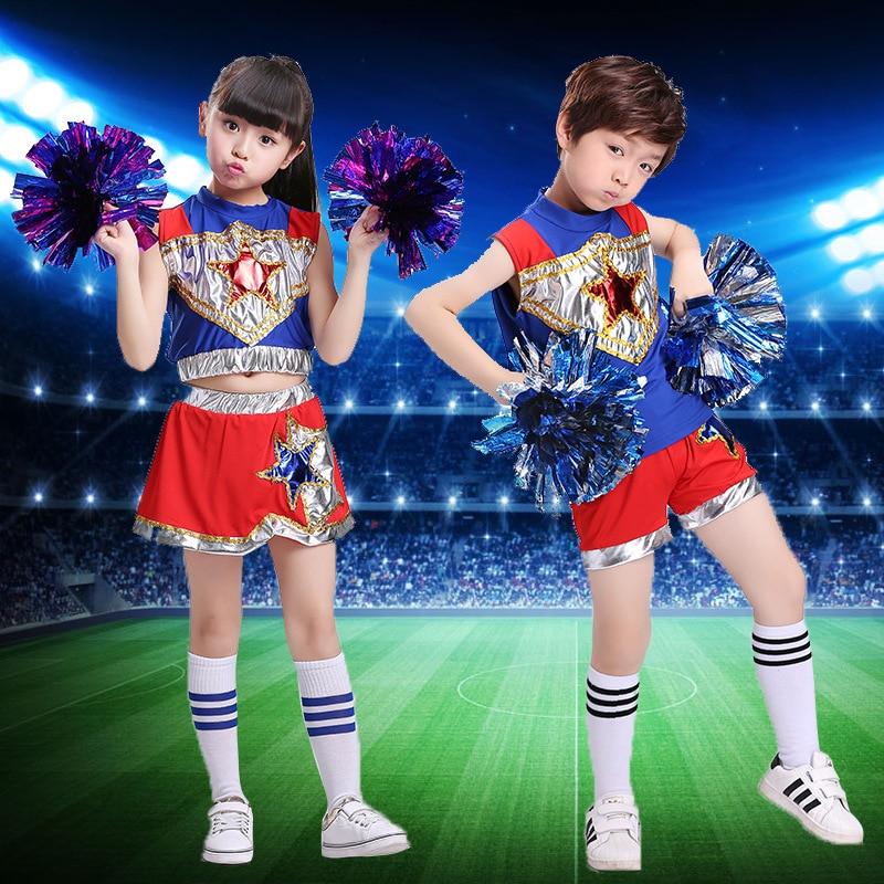 Sleeveless Boys Girls Dance Costume Cheerleader Costume Modern Dance Costumes Kids Cheerleader Costume Boys Girs Star Blue Bling
