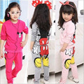 Fashion Baby Girls Kids Cartoon Clothing Sets Long Sleeve Tops Hoodies+Pants Two-pieces Outfits Kids Clothes 3 Color