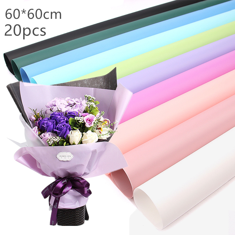 Translucent cellophane waterproof flower wrapping paper florist film 20pcslot flower packaging paper matte surface transparent packaging material paper bouquet florist supplies gift mightylinksfo