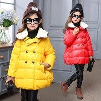 Carácter cálido parka chaquetas abrigos para niños chica con capucha chaquetas chicas ropa de abrigo abrigos niños amarillos rojos ropa 2017 nuevo