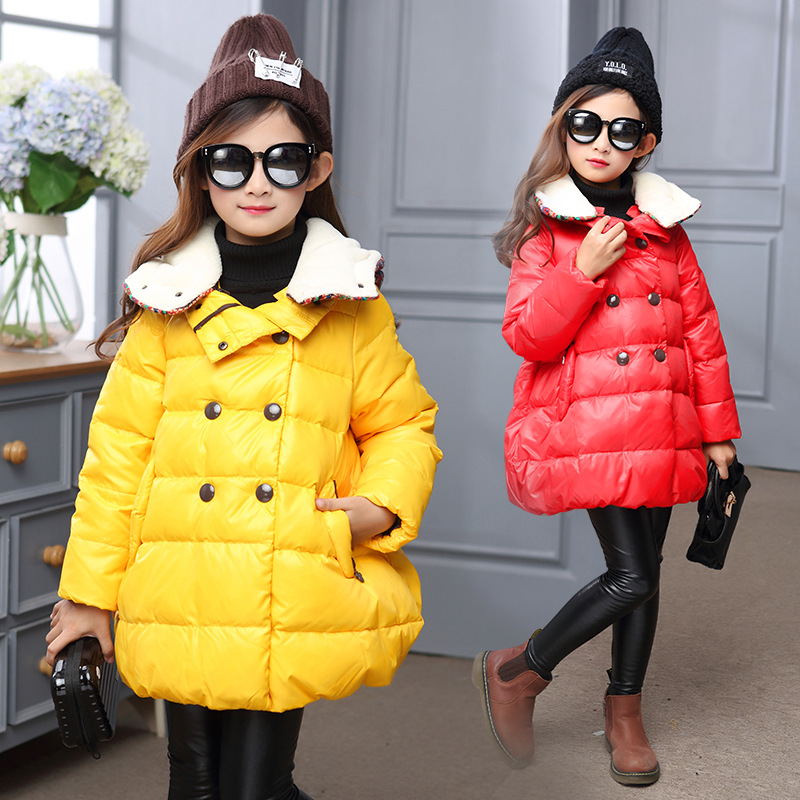 character warm parka jackets coats for kids tops hooded girl jackets girls outerwear coats red yellow children clothing 2016 new