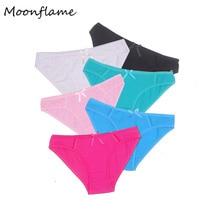 Moonflme 5 pcs/lots Hot Sale 2019 Briefs Women Solid Color Comfortable Cotton Woman Underwear 89037