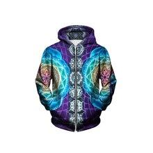 Psychedelic Zip Up Hoodies Trippy Visionäre Kunstwerk-Regenbogen Mandala Chakra Kunst Sublimationsdruck Hoody