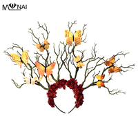 Long Antler Tree Branches Headband Props Horns Hair Accessory Cosplay Headpieces Kwaii Butterfly Flowers Horn Fancy Headdress