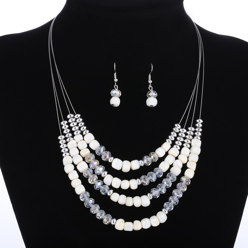 Silver Clear Indian Costume Jewellery Necklace Earrings: New Layers Clear Acrylic Necklace Earrings Set Indian