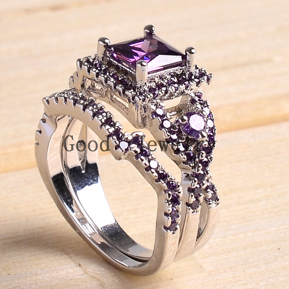 Sz5 10 White Gold Filled Princess Square Cut Women Wedding Ring Set Bridal Engagement Free Shipping In Rings From Jewelry Accessories On
