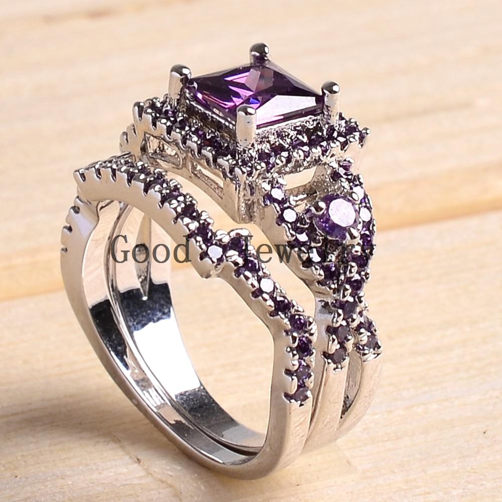 sz5 10 white gold filled princess square cut amethyst women wedding ring set bridal wedding - Amethyst Wedding Rings
