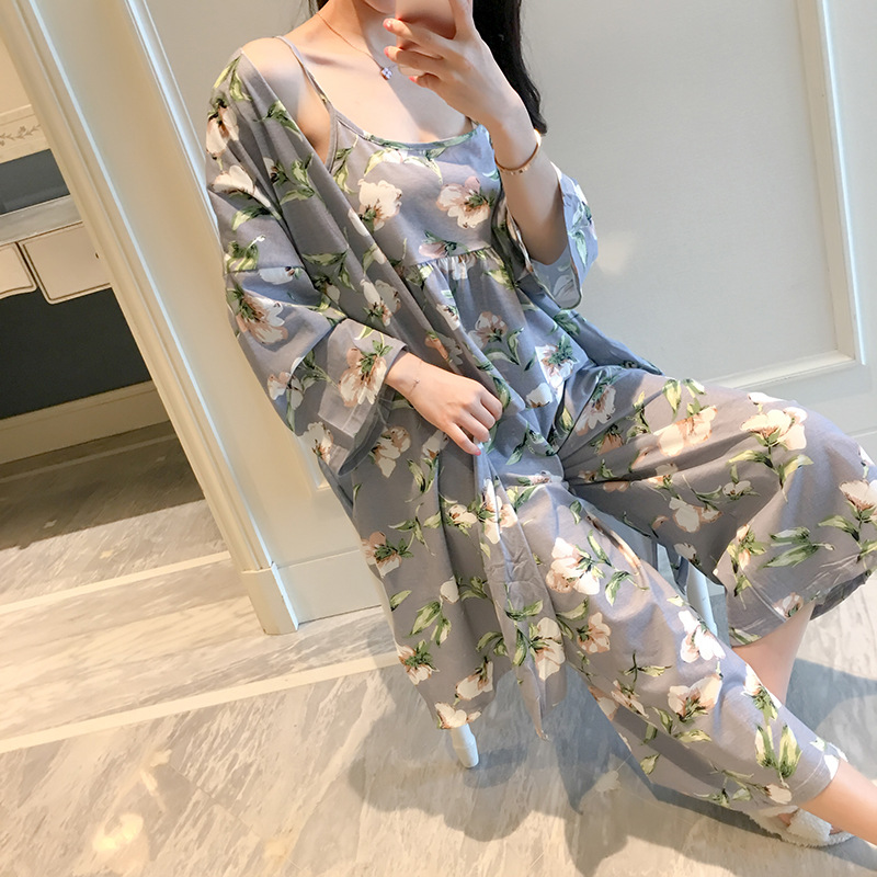 QWEEK Spaghetti Strap Lingerie Three-piece Autumn Thin Sweet Style Homewear Women Fashion Print Sleepwear Comfortable Night Suit