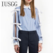 Sweet Bow Tie Striped Shirt Long Sleeve Fashion Blouse Women Tops Blue Striped Shirt Korean Bow Hollow Out Lace Up Bow Blusa blue lace up design grid pattern blouse