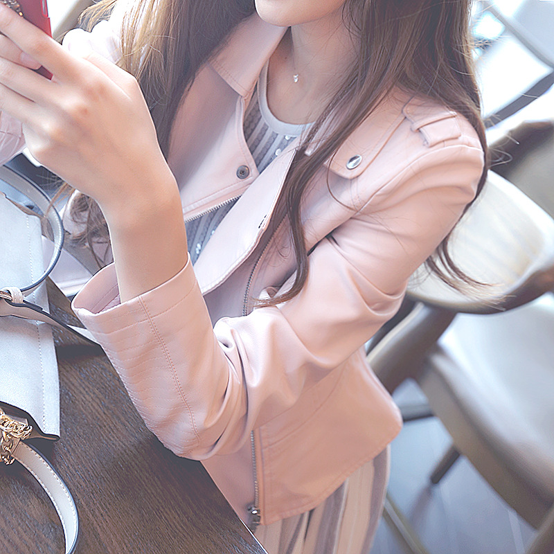 Brand Motorcycle PU   Leather   Jacket Women Autumn Spring New Fashion Slim Coat Zipper Outerwear Pink Jackets 2019 Short Coats HOT