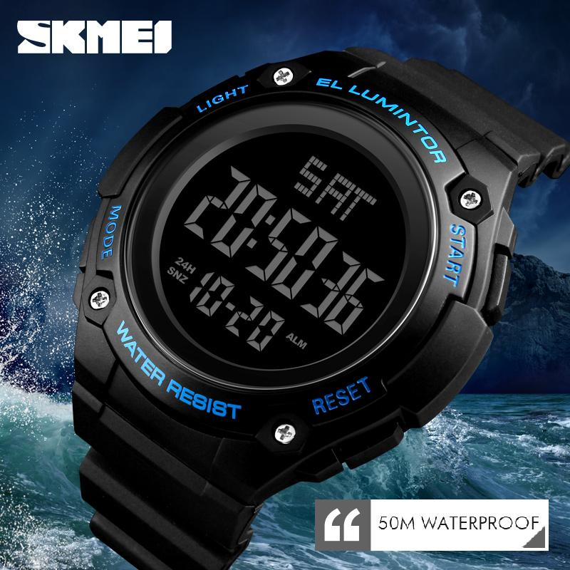 SKMEI Mens Watches Luxury Brand Men LED Digital Watch Waterproof Date Clock Large Dial Military Sport Watch Relogios Masculino weide genuine top brand luxury men watch led sport digital black quartz relogios masculino watches large discs electronic clock