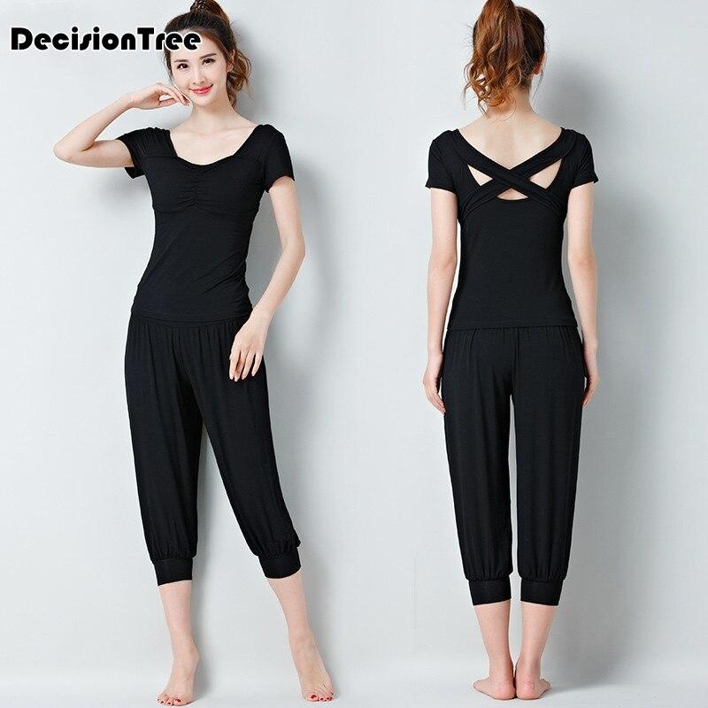2019 traje de fitness para mujeres conjunto de Yoga de chándal sin espalda gimnasio running set ropa deportiva leggings monos ropa deportiva de entrenamiento - 2
